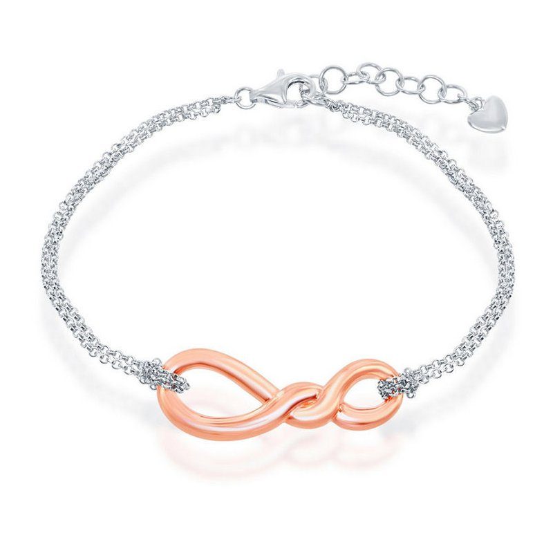 Fashion Jewelry Collection  - Sterling Silver Infinity Knot Double Strand Chain Bracelet - 7""
