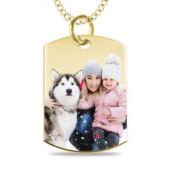 - Medium Dog Tag Laser Enameled 16x22mm Customized Engravable Photo Picture Pendant