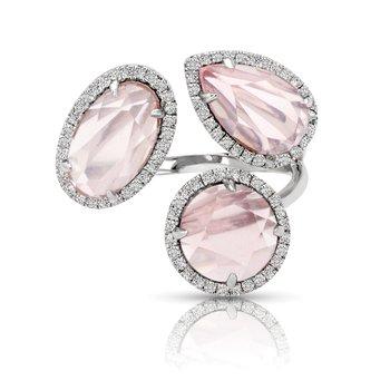 1/3ct. Diamond & 1-3/8ct. Pink Quartz Gemstone 14k White Gold Right Hand Ring