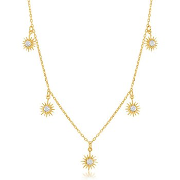 Sterling Silver Hanging-Sun CZ Necklace