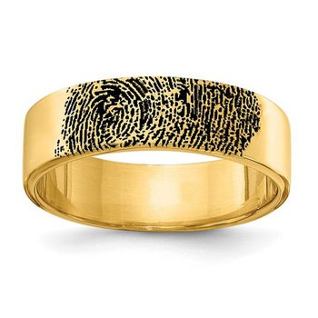 14k Gold Personalized Black Epoxy Fingerprint 17mm Wedding Band Ring