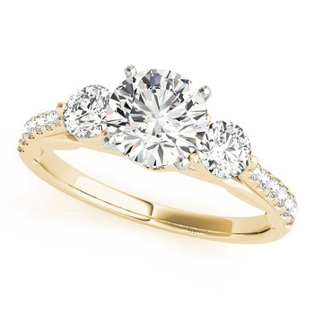 - Round 3-Stone Accented Diamond Engagement Ring