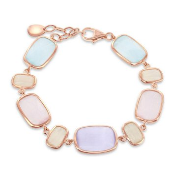 """- Simona Sterling Silver 14k Rose Gold Plated Blue and Grais-Blue and Champagne Rectangle Cat's Eye Bracelet - 7"""""""