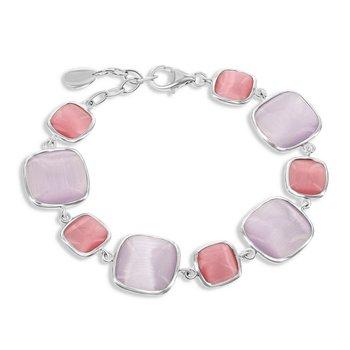 "- Simona Sterling Silver Alternating Dark Watermelon and Light Violet Square Cat's Eye Bracelet - 7"""
