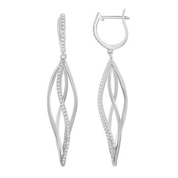 - Bellissima Sterling Silver 2.00ctw. White Topaz Gemstone Twist Cage Latchback Earring Pair