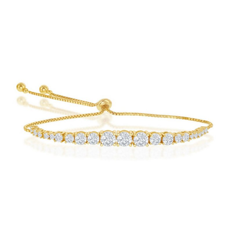 Fashion Jewelry Collection  - Sterling Silver 14k Yellow Gold Plated Round Graduating CZ Bolo Adjustable Tennis Bracelet - 9.5""
