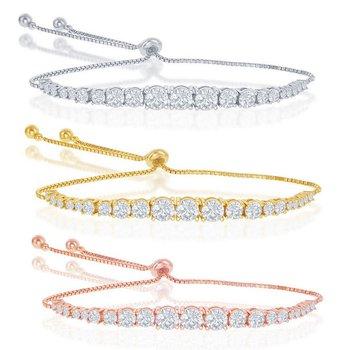 Sterling Silver Round Graduating CZ Bolo Adjustable Tennis Bracelet