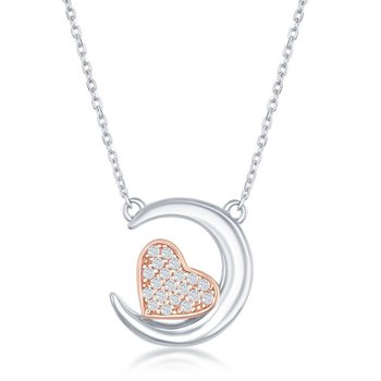 Sterling Silver Crescent Moon with 14k Rose Gold Plated CZ Heart Chain Necklace