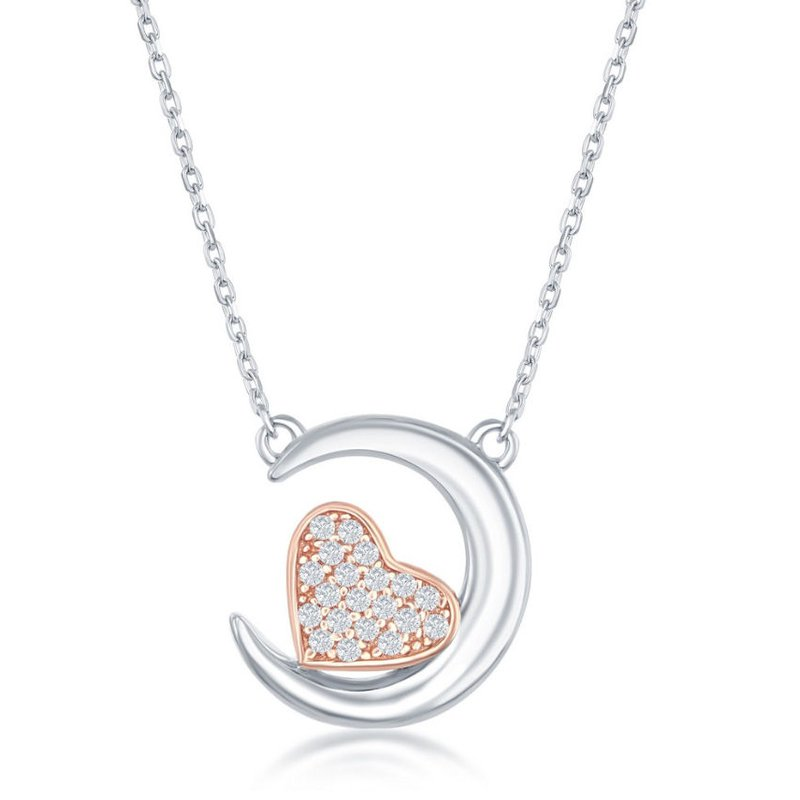 Fashion Jewelry Collection Sterling Silver Crescent Moon with 14k Rose Gold Plated CZ Heart Chain Necklace