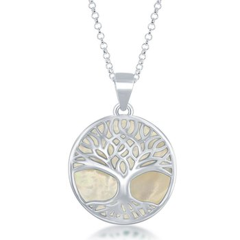 - Sterling Silver Large Round White Mother of Pearl with Tree-of-Life Pendant with Chain