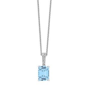 - 14k White Gold Diamond and Aquamarine Gemstone Chain Pendant