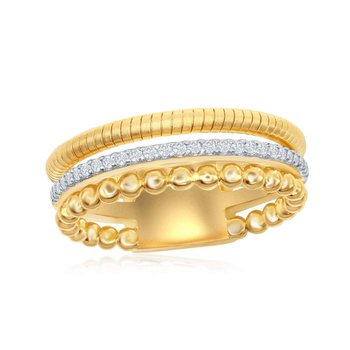 - Italian Collection CZ Stones 14k Gold Plated Sterling Silver Ring Band