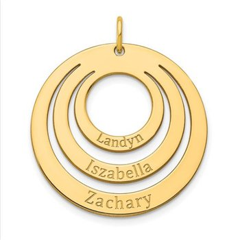14k Gold 3-Ring Circle Personalized with Names Charm Pendant