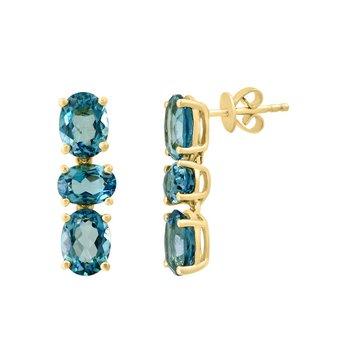 - 14k Yellow Gold 7.58Ctw. Oval London Blue Topaz Gemstone Dangle/Drop Earrings
