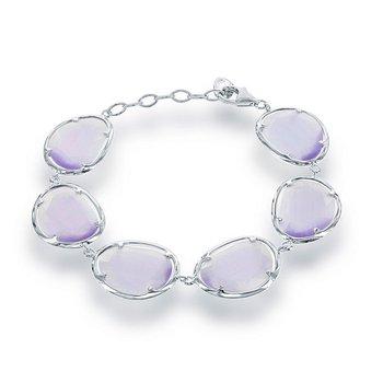 "- Simona Sterling Silver Light Violet Cat's Eye Bracelet - 7.50"""