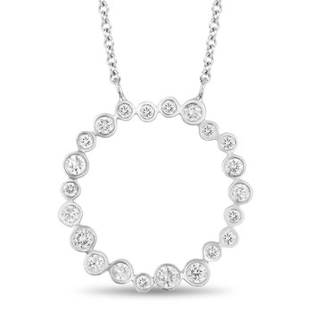 - 14k White Gold Diamond Eternity Circle of Love Chain Necklace