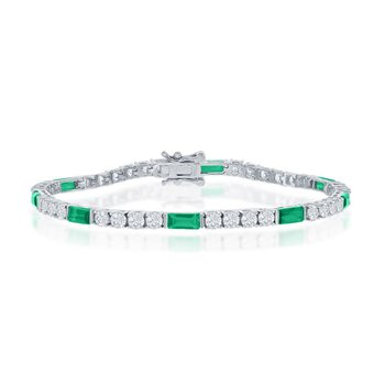 Sterling Silver White Round CZ and Emerald-Cut Green CZ 3mm Tennis Bracelet