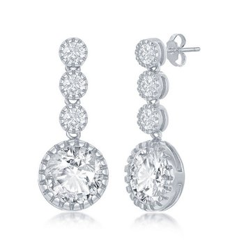 - Sterling Silver Set with CZ Stones Earring Pair