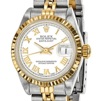 : Pre-Owned Independently Certified Rolex Ladies Datejust Two-Tone Steel/18ky with White Roman Numerals Dial, and Jubilee Band