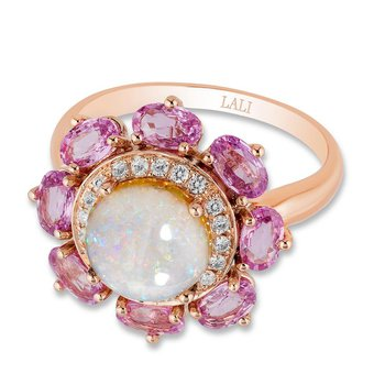 - 14k Rose Gold Halo Diamond and Australian Pearl Center and Pink Sapphire Gemstones Floral Nature Inspired Cocktail Ring