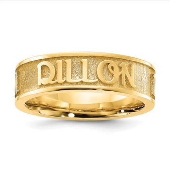 14k Gold Casted High Polish w/Sandblast background Personalized 5mm Name Band Ring