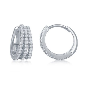 Sterling Silver 6x13mm Small Triple-Row CZ Hinged Huggie/Hoop Earrings