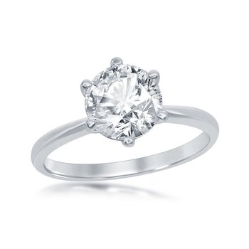 Sterling Silver 6-Prong Solitaire Round CZ Engagement Ring