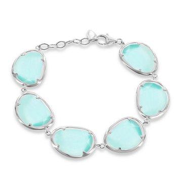 "- Simona Sterling Silver Teal Cat's Eye Bracelet - 7"""
