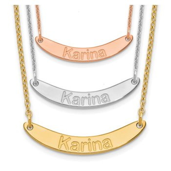 """14k Gold Personalized Nameplate Curved Rounded Name Bar with 18""""x1mm Cable Chain Necklace"""