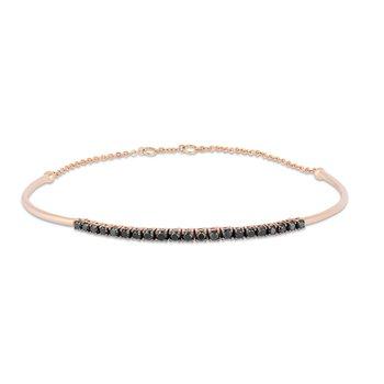 - 14k Rose Gold Black Diamond Bangle Bracelet