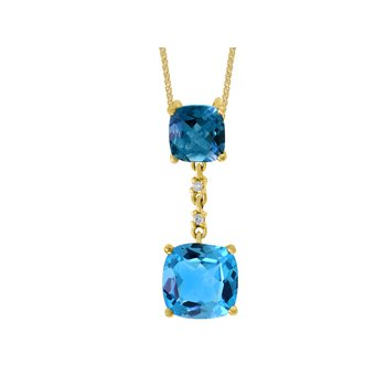 - 14k Yellow Gold Diamond and 3.59Ctw. Swiss Blue Topaz Gemstone Chain Pendant