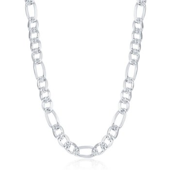 - Sterling Silver 7.8mm Pave Figaro Chain Necklace for Men