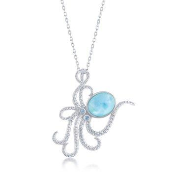 - Caribbean Treasures Sterling Silver Blue CZ Stones and Larimar Gemstone Octopus Pendant