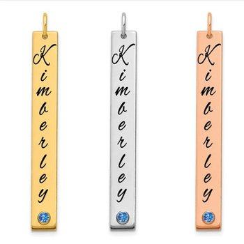 14k Gold Personalized Birthstone Polished Laser Design Vertical Bar Name Pendant