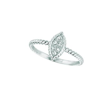 14K Gold 0.13ctw. Diamond Marquise Shape Rope Twisted Anniversary Ring