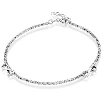 - Sterling Silver Double Strand Infinity Anklet - 9""