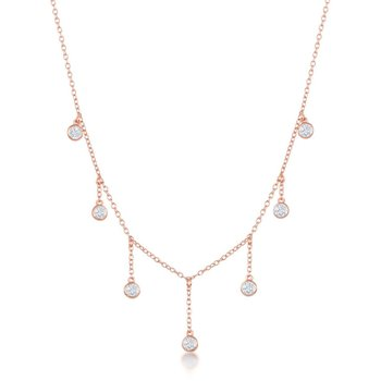 Sterling Silver Dangling Bezel-Set CZ Station Chain Necklace