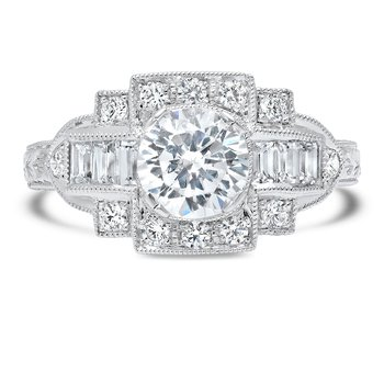 - Art Deco Accented Semi-Mount Diamond Engagement Ring
