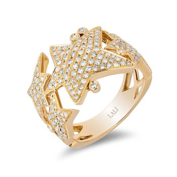 - 14k Yellow Gold Diamond Star Celestial Design Wide Band Ring