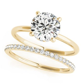 Solitaire Round Diamond Engagement Ring and Wedding Band Set