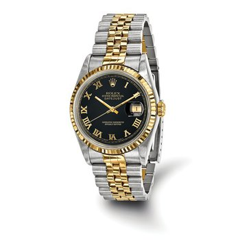 : Pre-Owned Independently Certified Rolex Gents Datejust Steel/18k with Black Roman Numerals Dial, and Jubilee Band