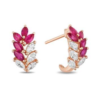 - 14k Rose Gold Diamond and Ruby Gemstone Rowan Leaf Nature Inspired Design Earrings