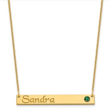 """14k Gold Personalized 38.5x5.4mm Birthstone Bar Name Pendant with 18""""x1mm Chain Necklace"""