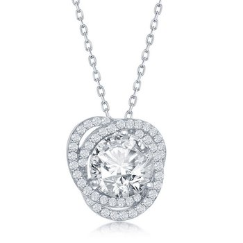Sterling Silve Round CZ Double Twisted Halo Flower Floral Pendant Chain Necklace and Earrings Set
