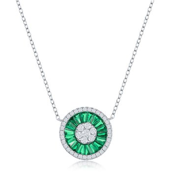 Sterling Silver White Round CZ and Green Baguette CZ Circle Chain Necklace