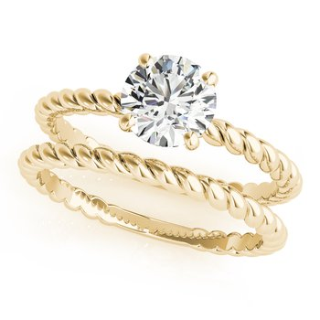 Solitaire Round Diamond Twisted Rope Design Engagement Ring and Wedding Band