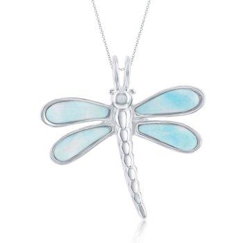 - Caribbean Treasures Sterling Silver Larimar Gemstones Dragonfly Pendant