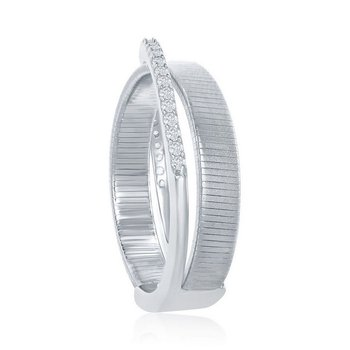 - Italian Collection CZ Stones Sterling Silver Platinum Bonded Ring Band