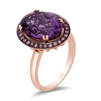 - 14k Rose Gold Pink Sapphire Halo with Amethyst Center Gemstones Cocktail Ring