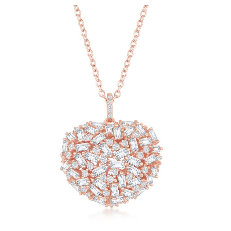 Fashion Jewelry Collection Sterling Silver 14k Rose Gold Plated White Baguette CZ Puffed Heart Pendent